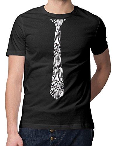 RoughTex Herren T-Shirt Bedruckt Krawatte Schwarz-Zebra XL