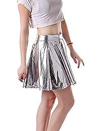 JERFER Moda para Mujer Cuero Acampanado Plisado A-Line Circle Falda de  Baile de Traje c6432f3394d4