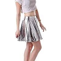 JERFER Moda para Mujer Cuero Acampanado Plisado A-Line Circle Falda de Baile de Traje de Skater