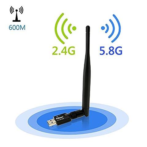 PhilonextClé USB Wifi 600Mbps Avec Antenne Double Bande 2,4G 150Mbps/5G 433Mbps Adaptateur Sans Fil USB Wifi - Pour Windows XP / 7/8/10, Mac OS X 10.11.X / 10.10.X / 10.9. X / 10.8.X / 10.7.X/10.6.X(Dongle USB Wifi)