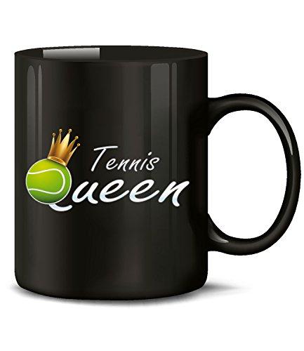 Golebros Tennis Queen 5366 Sport Geburtstag Geschenk Fun Tasse Becher Kaffeetasse Kaffeebecher Schwarz