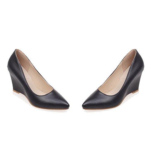 VogueZone009 Femme Pointu à Talon Haut Fermeture D'Orteil Tire Pu Cuir Couleur Unie Chaussures Légeres Noir
