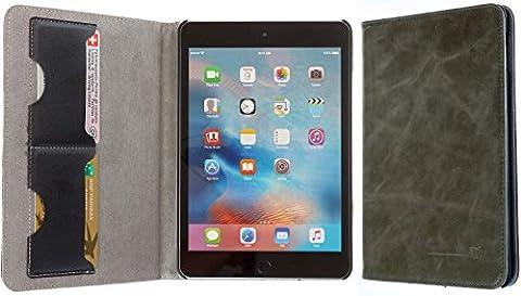 3Q Luxus Apple iPad Mini 4 Hülle Echt-Leder. Elegante Leder-Tasche iPad 4 Case Etui mit Fächern für Kreditkarte Ausweis Visitenkarte Schweizer Premium Design und Verpackung Cover Grau