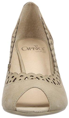 Caprice 29301, Escarpins Bout ouvert femme Marron - Braun (TAUPE SUEDE 343)