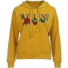 Damen Hoodie Sweatshirt,Dasongff mode damen tops Rosenstickerei und Well End drucken langärmeligen mit Kapuze gelb Pullover