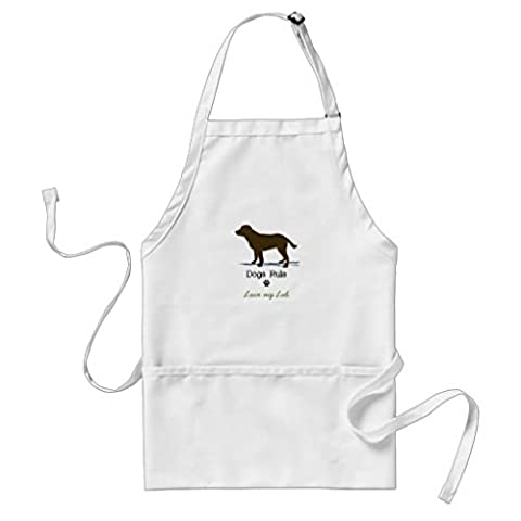 Kitchen Apron for Women Chocolate Labrador Retriever Pattern Aprons for Girls Adjustable col Waist Ties Cooking Apron for Men