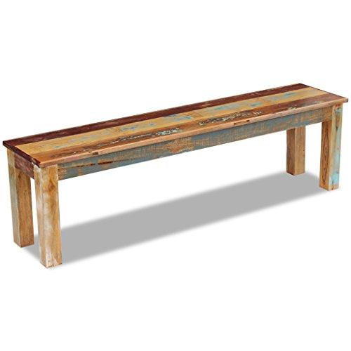 Festnight Retro-Stil Holzbank Sitzbank Ruhebank aus Recyceltes Massivholz Multifunktional Massivholzbank 160 x 35 x 46 cm - 6