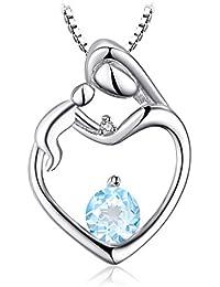 JewelryPalace Aquamarine Diamante Acentuado Pendiente Collares Plata de Ley 925