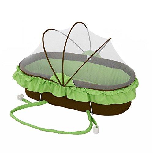 LINAG Baby Reisebett Krippe Portable Faltbare Travel Bed Bassinet Bequem Babybett Tragbares Wiege Schlafkorb Baumwolle,Green