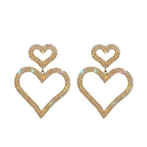 XIANNU Damen-Hängeohrringe,Übertrieben Mode Crystal Doppel Herz Ohrringe vertraglich Joker Lange Frauen Ohrringe Schmuck Gold (Joker's Freundin Kostüm)