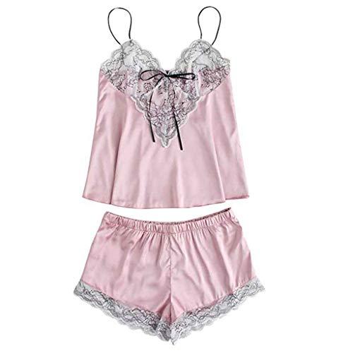 HupoopMode Mädchen niedlich Spitze bestickte Seide Unterwäsche und Shorts Pyjama Set(Rosa,S)
