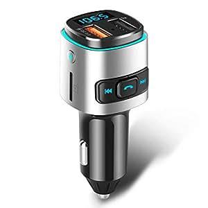 ELEGIANT FM Transmitter, QC 3.0 Bluetooth Adapter Wireless Auto Radio Freisprecheinrichtung V4.2 Bluetooth FM Sender KFZ Auto Ladegerät mit Dual USB Anschuss & USB-Stick Mikrofon für iOS und Android
