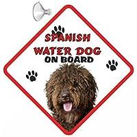 Placa para automóvil colgante de Perro de Agua Español (Marrón) con ventosa de goma 235