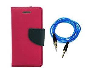Kerbs Combo Pack fancy flip diary/case/cover for mercury for Samsung Galaxy Note pink and blue auxiliary cable
