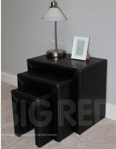 Black Leather Nest of 3 Tables - Side Table - End Table for sale  Delivered anywhere in UK