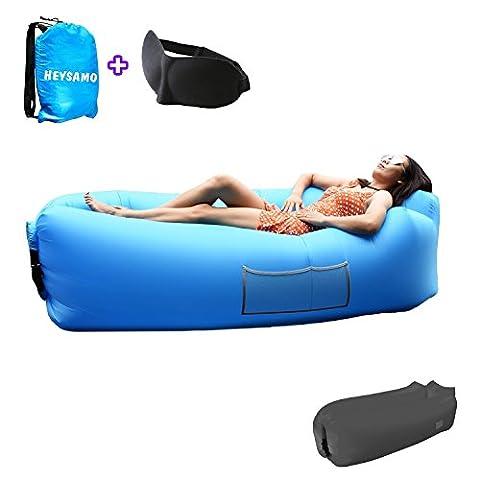 Luftsofa Air Lounger Sitzsack mit Schlafmaske - HEYSAMO Wasserdichtes Aufblasbar Liegesack Air Sofa Outdoor für Reisen, Camping, Strand, Park, Backyard,Hinterhof (Blau)