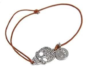 Bracelet femme neuf métal , cristal et cordon. Tête de mort.