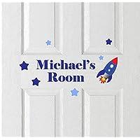 Personalised Rocket & Stars Door Name Plaque Sign Childrens Art Vinyl Stickers