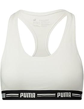Puma Iconic Racer Back Bra 1P Ropa Interior, Mujer, Blanco, Small