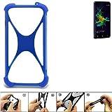 K-S-Trade Bumper für Allview P8 Energy Mini Silikon Schutz Hülle Handyhülle Silikoncase Softcase Cover Case Stoßschutz, blau (1x)