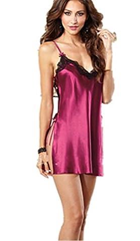 Boowhol lingerie sexy erotique Femmes Perspective en Satin Push up élégante Avec G-String Robes (L,