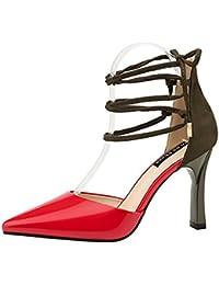 GAOLIXIA Zapatos de Mujer Primavera Verano Color Costura Correas Cruzadas Sandalias Tacones de Aguja Plataforma...