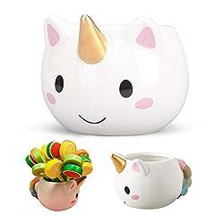 Idea Regalo - Tumao Tazza di Unicorno, Creativo Cartone Animato Unicorno Tazza di Ceramica, 350ml Grande capacità Bere Boccale, Unico Creativo Arcobaleno Unicorno Coda Maniglia, Regalo Perfetto