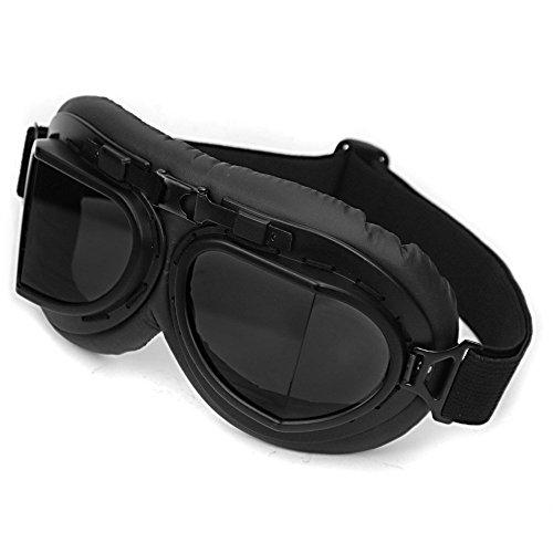 New Schwarz Vintage-Stil WWII RAF Pilot Flying Motorrad Biker Motocross Kreuzer Sun UV Wind Auge schützen Helm Brille schwarz Rahmen Radfahren Eyewear Brille