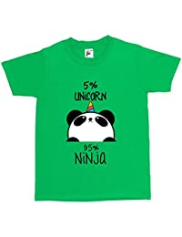 Fancy A Snuggle 5% Unicorn 95% Ninja Black & White Panda Kids Boys / Girls T-Shirt