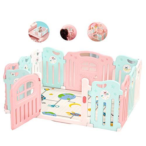 LYXCM Baby-Laufgitter Faltbar, 10 + 2-Seitig Kunststoff-Baby-Laufgitter Mit Aktivitätsfeld Mit Spielmatten Innen Oder Außen Inbegriffen - 2-seitig Matratze
