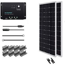 Renogy Kit de Panneaux Solaires Hors Réseau 200 W 12 V : 2Pcs 100W Monocristallin panneau solaire + 30 A PWM contrôleur intelligent régulateur solaire + 6M 2.5MM Adaptateur Kit Câble Solaire + 2M 2.5MM Câble de Batterie + Z Supports pour RV, Bateau, Toit, Voiture, Caravane , Batterie Charge