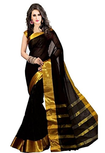 ISHIN Poly Silk Black With Woven Zari Border Women's Saree.  available at amazon for Rs.499