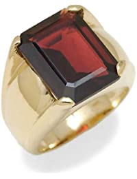 Gioie Men's Ring in Yellow 14k Gold with Garnet, Size Q, 14 Grams