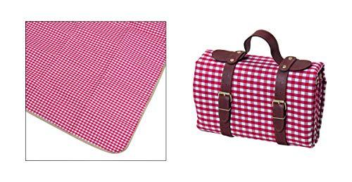 MC Trend Picknickdecke Freizeitdecke mit Kunstleder Tragegriff Wasserabweisende Unterseite rot/weiß kariert 130x147cm Camping Urlaub Schwimmbad