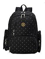 Vlokup Best Nappy Changing Backpack Multifunction Designer Travel Baby Diaper Bag for Stylish Moms & Dads Smart Organize System Waterproof with Baby Bottle bag, Changing Pad, Stroller Straps Black Dot