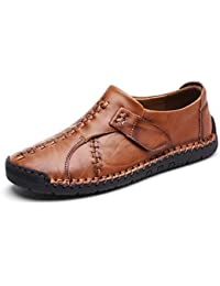 ZHShiny Herren Leder Casual Slipper Schuhe Slip on Handmade Flats  Klassische Bequeme Oxford Boat Walking Schuhe 6736ecf8b7