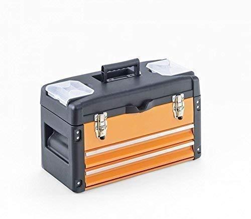 Werkzeugkiste mit 2 Schubladen und Deckel - orange/schwarz