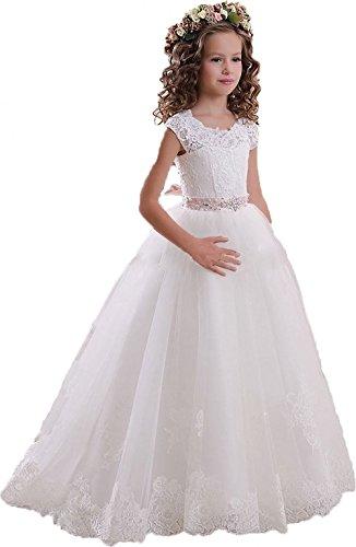 KekeHouse® Mädchen Spitze Tüll Rückenfrei Blumenmädchen Kleid Hochzeit Kinderkleid Kommunionskleid mit Gürtel Weiß Alter 8