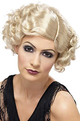 Smiffys Damen 20er Jahre Kurzer und Lockiger Flapper Bob Perücke, Blond, One Size, 42003 (Perücken 20er Jahre)