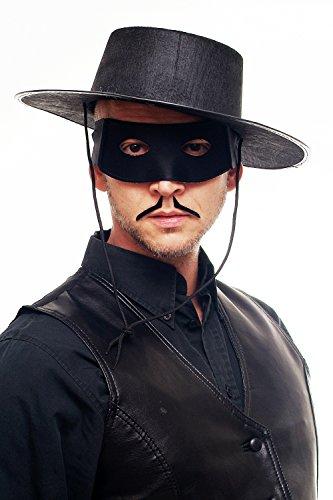 DRESS ME UP - Maske Augenmaske Augenbinde Halbmaske Herren Schwarz Zorro Bandit Vigilante (Maske Hut Und Zorro)