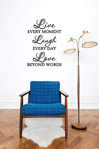 Lebe jeden Moment Lache jeden Tag Liebe jenseits der Worte Vinyl Aufkleber Lebe liebe lache Wandtattoo Zitat Lebe liebe lache Wohnzimmer