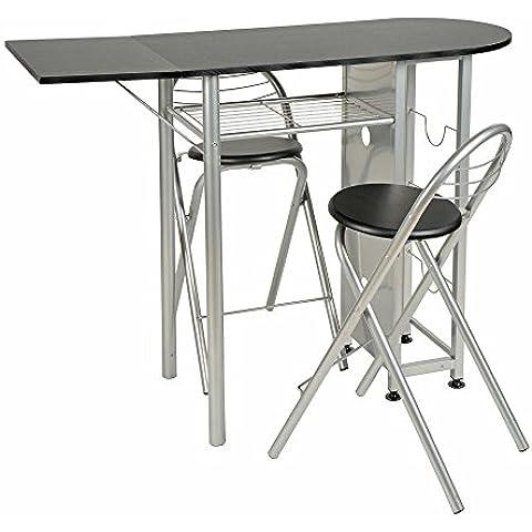 ts-ideen Juego de comedor de tres piezas, mesa de desayuno fibra de madera, 89 x 120 cm con ruedas silla sillas para la cociana, comedor, Apto de estudiante u