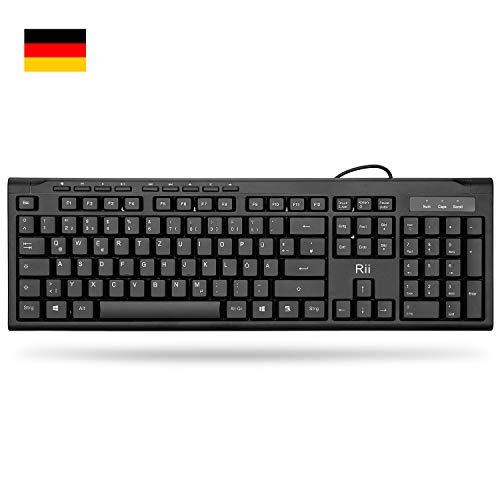 Rii RK907 Wired Tastatur USB für Mac/PC/Tablet/Windows/Android/Microsoft, QWERTZ Deutsches Layout, Schwarz -