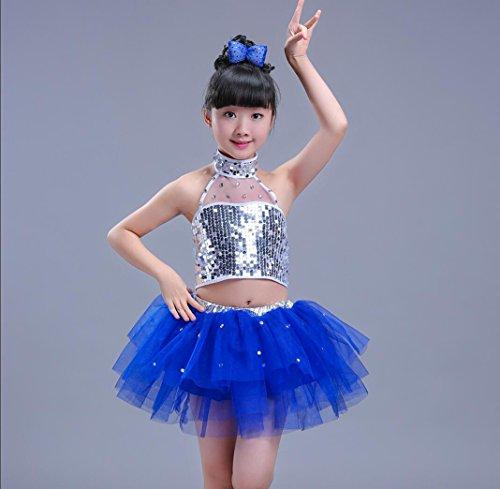 Kinder Tanz Kostüme Kinder Pailletten Jazz Kostüme Mädchen moderne Tanz Kleidung rot / blau / schwarz (6 Größen) , 150cm , (Jazz Kinder Kostüme Tanz Für)
