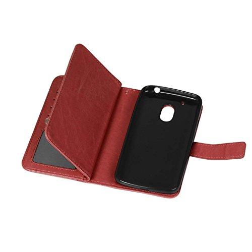 MOTO G4 G4 Play Tasche Flip Folio Case Solid Farbe Premium Synthetik-Leder-Kasten-Standplatz-Mappen-Kasten-Kasten mit 9 Karten-Bargeld-Slots für MOTO G4 G4 Spielen ( Color : Black , Size : MOTO G4 G4  Brown