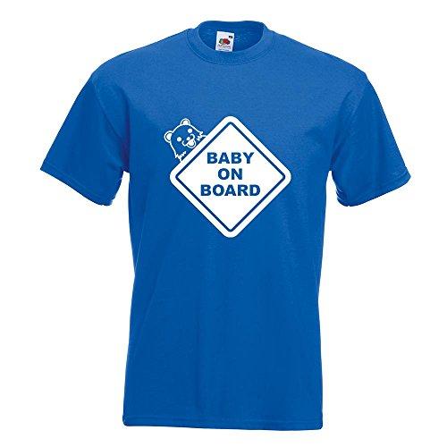 KIWISTAR - Baby on Board Pedobär T-Shirt in 15 verschiedenen Farben - Herren Funshirt bedruckt Design Sprüche Spruch Motive Oberteil Baumwolle Print Größe S M L XL XXL Royal