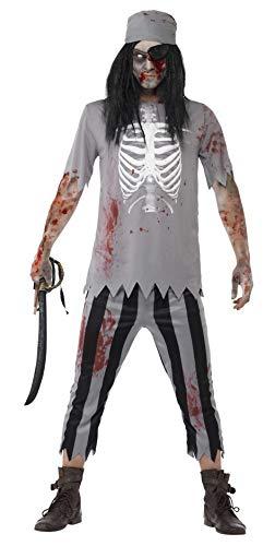 Zombie Piraten Kostüm Herren - Smiffys, Herren Zombie-Pirat Kostüm, Oberteil, Hose, Kopftuch und Augenklappe, Größe: M, 45957