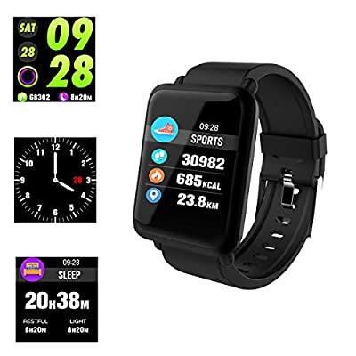 Smart Watch,Fitness Tracker Waterproof IP67 Heart Rate Monitor Blood Pressure Measurement Sleep Monitoring Pedometer Calorie Information Push Reminder, for Android IOS by Anding