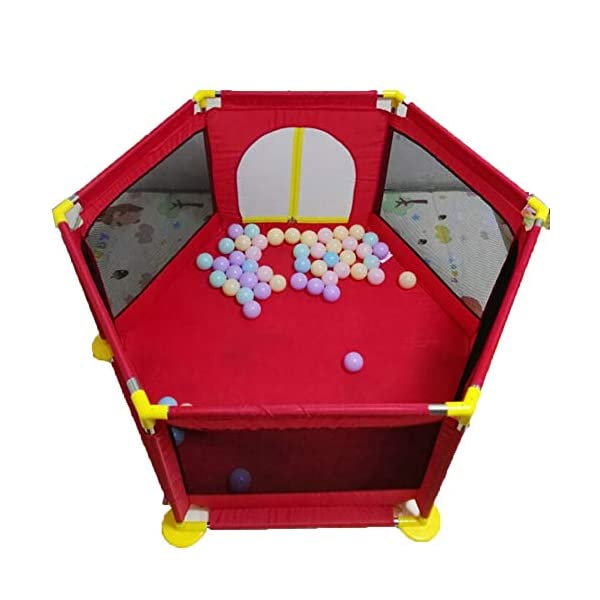 Playpens - Protable Baby Toddler Safety Play Center Yard, Big Feet Anti-rollover Children's Game Fence (color : RED) Playpens  1
