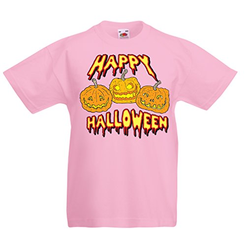 lepni.me Kinder Jungen/Mädchen T-Shirt Happy Halloween! Party Outfits & Costume - Gift Idea (1-2 Years Pink Mehrfarben)